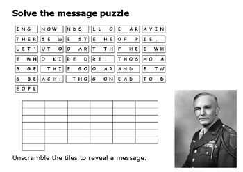Solve the message puzzle about Omaha Beach