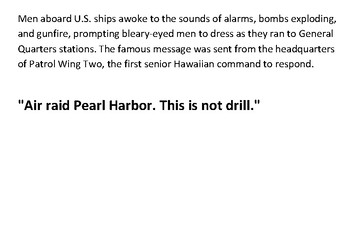 Solve the message puzzle about Pearl Harbor