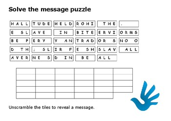 Solve the message puzzle about slavery
