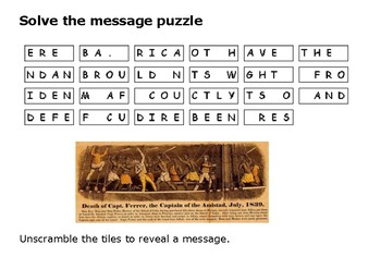 Solve the message puzzle about the Amistad