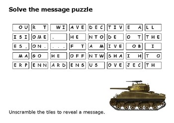 Solve the message puzzle about the Battle of the Bulge