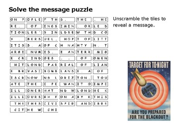 Solve the message puzzle about the Blitz Winston Churchill