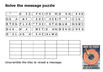 Solve the message puzzle about the Blitz World War Two