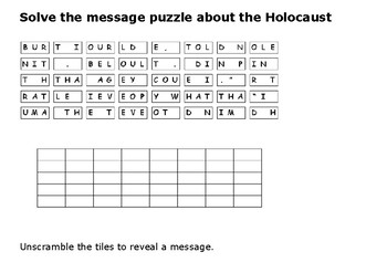 Solve the message puzzle about the Holocaust