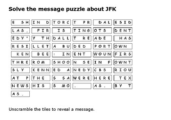 Solve the message puzzle about the JFK assassination