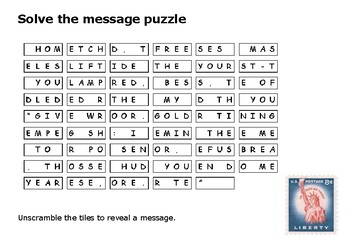 Solve the message puzzle about the Statue of Liberty