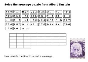 Solve the message puzzle from Albert Einstein