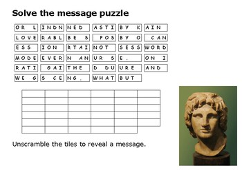 Solve the message puzzle from Alexander the Great