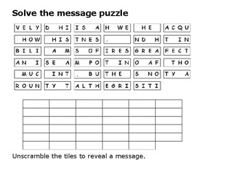 Solve the message puzzle from Bob Marley