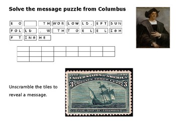 Solve the message puzzle from Columbus