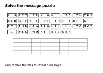 Solve the message puzzle from Dietrich Bonhoeffer