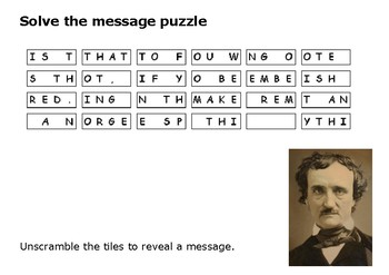 Solve the message puzzle from Edgar Allan Poe