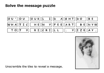 Solve the message puzzle from Eleanor Roosevelt