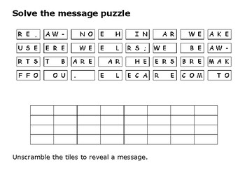 Solve the message puzzle from Emmeline Pankhurst