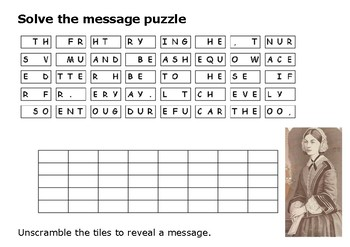 Solve the message puzzle from Florence Nightingale