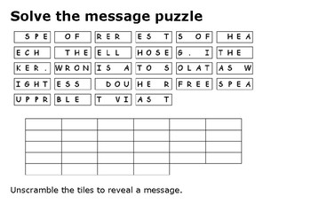 Solve the message puzzle from Frederick Douglass