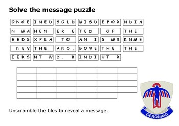 Solve the message puzzle from Geronimo