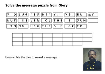 Solve the message puzzle from Glory by William Harvey Carney