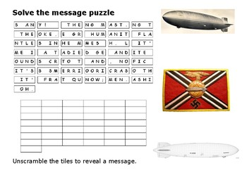 Solve the message puzzle from Hindenburg Disaster