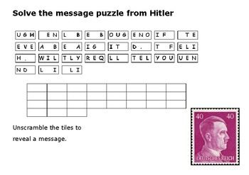 Solve the message puzzle from Hitler