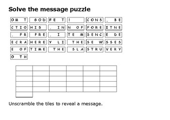 Solve the message puzzle from John Brown
