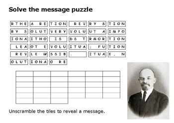 Solve the message puzzle from Lenin