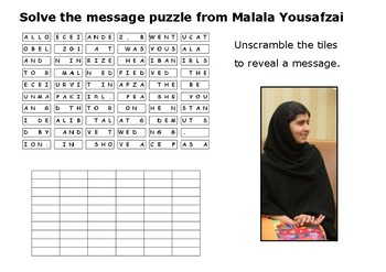 Solve the message puzzle from Malala Yousafzai