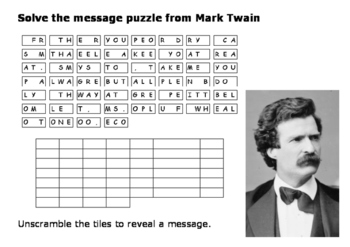 Solve the message puzzle from Mark Twain