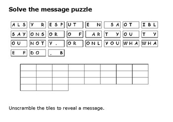 Solve the message puzzle from Martin Luther