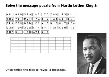 Solve the message puzzle from Martin Luther King Jr