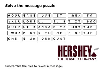 Solve the message puzzle from Milton Hershey