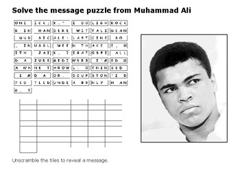 Solve the message puzzle from Muhammad Ali