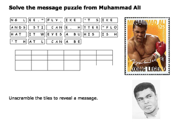 Solve the message puzzle from Muhammad Ali Number 2