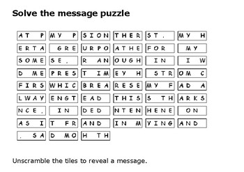 Solve the message puzzle from Nat Turner