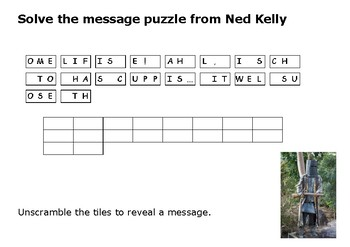 Solve the message puzzle from Ned Kelly