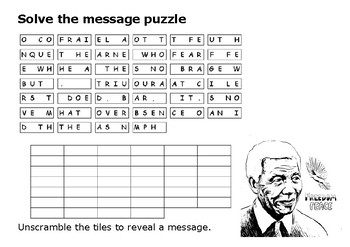 Solve the message puzzle from Nelson Mandela