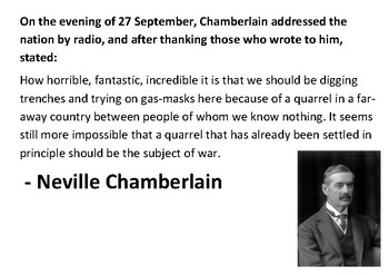 Solve the message puzzle from Neville Chamberlain - Appeasement