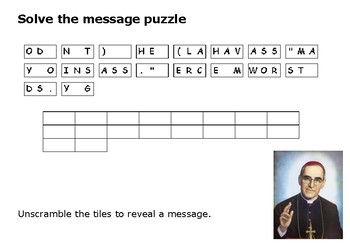 Solve the message puzzle from Oscar Romero