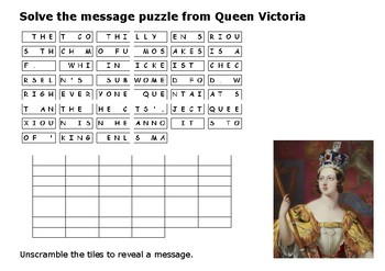 Solve the message puzzle from Queen Victoria
