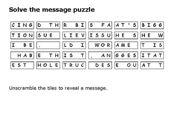 Solve the message puzzle from Steve Irwin