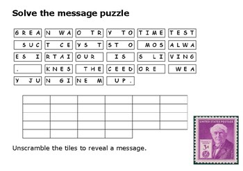 Solve the message puzzle from Thomas Edison