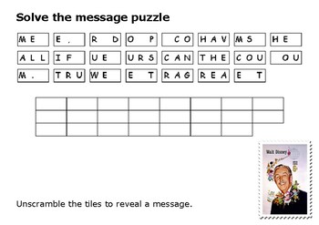 Solve the message puzzle from Walt Disney