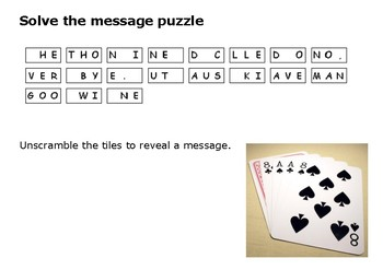 Solve the message puzzle from Wild Bill Hickok