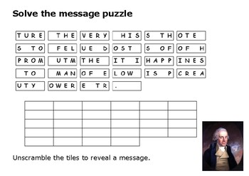 Solve the message puzzle from William Wilberforce