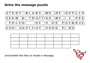 Solve the message puzzle from Wolfgang Amadeus Mozart