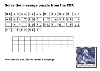 Solve the message puzzle from the FDR - New Deal