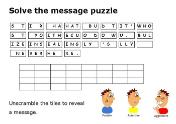 Solve the message puzzle on bullying