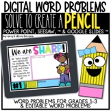 Digital Word Problem Activity: Solve to Create a Pencil (S