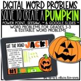 Digital Word Problem Activity: Solve to Create a Pumpkin (
