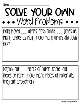 Solve your own- Multiplication Word Problems